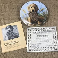 """1987 Knowles Collectors Plate """"Caught in the Act-The Golden Retriever""""Lynn Kaatz"""