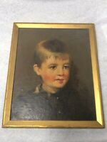 Victorian Artwork Oil Painting Portrait Young Blonde Boy After Nelly Erichsen