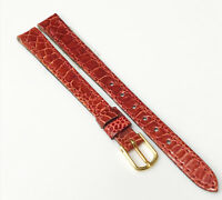 Frisson Genuine New Leather Red Tone 10mm Gold Buckle Watch Band