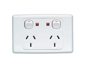 Clipsal 2025N Twin Switch Socket Power Double Outlet 250V 10A Shutter Indicator