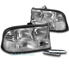 98-04 GMC SONOMA/98-01 JIMMY REPLACEMENT HEADLIGHTS LAMPS CHROME W/DRL LED KIT