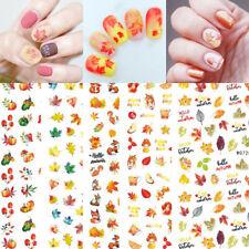 Women Fall Yellow Gold Adhesive Nail Art Sticker Cartoon Fox Pumpkin Manicure