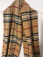 """V Fraas Cashmink Scarf Burberry Plaid Made In Germany Incredibly Soft 11"""" X 64"""""""