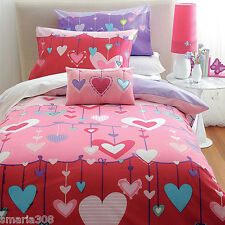 Hearts Girls Duvet | Doona Quilt Cover Set | 180TC | Cubby House Kids | Single