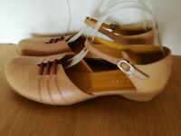 SANDALS 7 40 CAMEL BROWN REAL LEATHER MARY JANE FLATS SHOES HISPANITAS SPAIN NEW