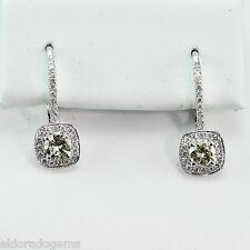 1.26 CT. VS1 - G DIAMOND HALO DESIGN EURO WIRE DANGLE EARRINGS 14K WHITE GOLD