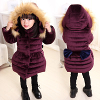 Winter Warm Parka Baby Kids Girls Long Padded Coats Fur Hooded Jacket Puffer Bow