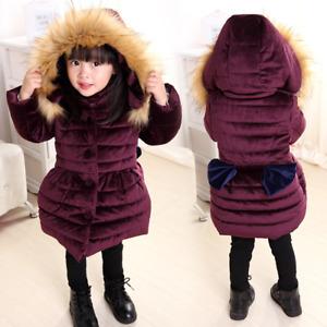 Kids Girls Winter Long Padded Coats Fur Hooded Jacket Puffer Warm Parka Cute Bow