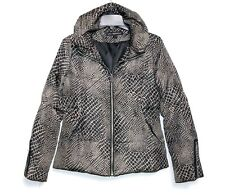 Via Spiga - Womens S - Beige & Brown Animal Print Zipper Cuff Puffer Jacket