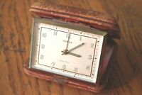 Vintage Semca Travel Alarm Clock Swiss Made 7 Jewel Leather folding clam Case