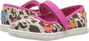 Toms Toddlers Cheetah Mary Jane Natural Casual Shoe SZ 3 Infants US