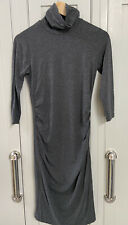Isabella Oliver Grey Maternity Turtle Neck Dress Size 8 Excellent Condition