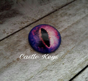 "Eye Cabochon Dragon Eye Cabochon 25mm 1"" Round Glass Cabochon Domed Purple"