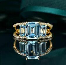 3Ct Emerald Cut Aquamarine Three-Stone Engagement Ring 14k Yellow Gold Finish