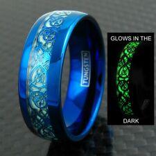 8mm Blue Tungsten Men's Ring Celtic Dragon *Glow in the Dark* Wedding Band