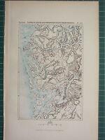 C1890 Antik Landkarte ~ Finland Von Sogne & Hardanger Southern Norwegen