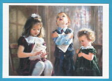 Cute singing children, girl and boy, Russian modern postcard