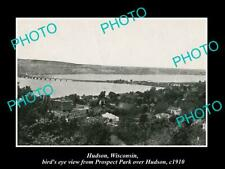 OLD POSTCARD SIZE PHOTO OF HUDSON WISCONSIN PANORAMA OF THE TOWNSHIP c1910