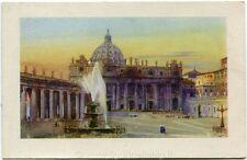1931 Roma - Basilica di San Pietro Città del Vaticano fontana - FP COL VG ANIM