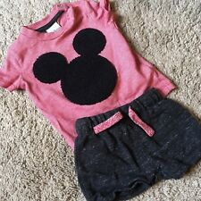 Disney Mickey Mouse Red T shirt Top Shorts 0-3 Months Newborn Baby Clothes
