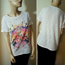 Red Herring White Floral Sheer Tee T-Shirt Slouchy Top Size 12 - 14