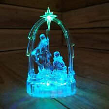 New Christmas LED Nativity Ornament Colour Changing Acrylic Mary Joseph Jesus