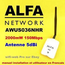 Carte Wifi USB Alfa 2000 mW AWUS036NHR antenne 5 dBi