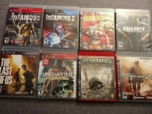 PS3 Lot of 8 Popular Action/Adventure/Shoot Game Bundle - Most CIB- Lightly Used