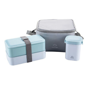 Japanese 2 Tie Bento Lunch Box Set Portable Water Soup Mug Insulated Lunch Bag