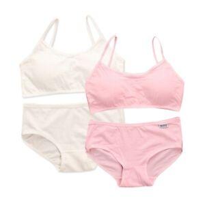Girls Bra Panties Set Padded Camisole Top Cotton Briefs Teens Intimate Underwear