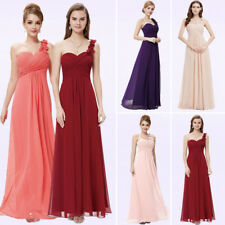 Long Chiffon One shoulder Bridesmaid Dresses Evening Party Dresses Cocktail Prom