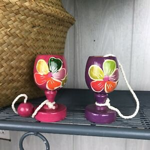 Wooden Toy Cup Hand Painted Floral Shelf Decor Set Of Two
