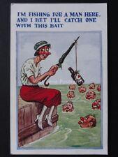 Comic Postcard: Fishing & Beer Theme I'M FISHING FOR A MAN HERE......