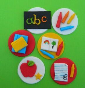 12 edible TEACHER THEME CUPCAKE cake topper DECORATION books crayons apple ABC
