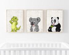 Bild Set Wild Tiere A4 Kunstdruck Krokodil Koala Panda Bär Kinderzimmer Deko