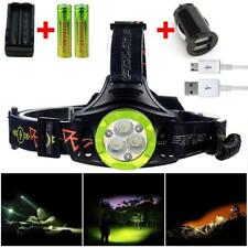 80000LM Cree T6 6X LED USB Headlight Flashlight Head Torch 2X 18650 Charger R2
