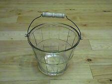 Vtg ANCHOR HOCKING GLASS ICE BUCKET PAIL BUSHEL BASKET with Wood Handle
