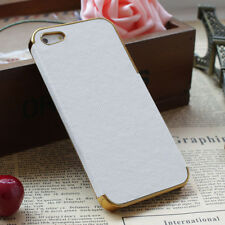 Shockproof Dirt Proof Leather Chrome Hard Back Case For iPhone 5 5S White Gold