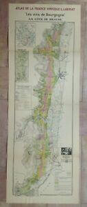 WINE MAP BURGUNDY- COTE DE BEAUNE FRANCE 1942 VERY LARGE ANTIQUE MAP LIMITED ED.