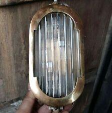 Vintage Art Deco Style Nautical Brass & Glass Rod Wall Passage Ship Light Lamp