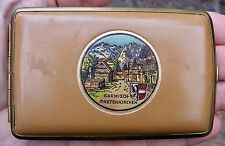"Vtg GERMANY Cigarette Case WW2 Garmisch DRP Brass 4"" Tooled Leather RARE VG++"