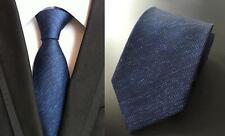 Blue Tie Patterned Handmade 100% Silk Wedding Necktie 8cm Classic Width