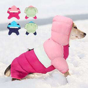 Dog Clothes Winter Warm Padded Hoodie Waterproof Adjustable Jumpsuit Down Jacket