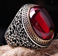 HEAVY Ruby Stone Turkish Jewelry Handmade 925 Sterling Silver Mens Ring ALL SİZE