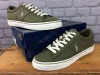 POLO RALPH LAUREN MENS UK 9 EU 43 SAYER OLIVE GREEN CANVAS TRAINERS RRP £70 AD