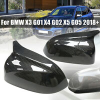 🔥 2Pcs Carbon Fiber Mirror Cover For BMW X3 G01 X4 G02 X5 G05 2018+ ❤ 🔥