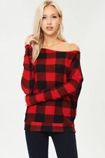Red Buffalo Plaid Checkered S M L Off Shoulder Top Shirt Sweater Knit Casual