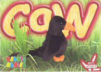 TY Beanie Babies BBOC Card - Series 3 Common - CAW the Crow - NM/Mint