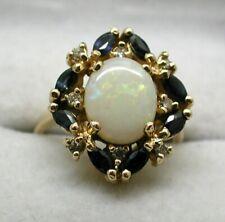 Gorgeous 14 Carat Gold Opal Blue Topaz And Diamond Dress Ring Size J