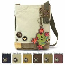 Chala Patch Crossbody FROG Bag Canvas gift Messenger Sand Beige w/ Coin Purse